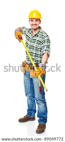 smiling handyman isolated on white background - stock photo
