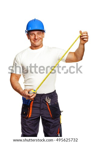 smiling handyman isolated on white background with measure tape