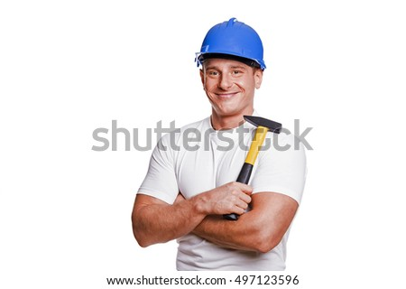 smiling handyman on white background fine portrait.