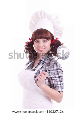 Smiling happy cook woman holds a cooking spoon - stock photo