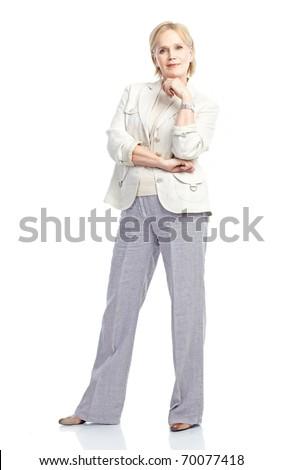 Smiling happy elderly woman. Isolated over white background - stock photo