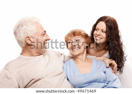 Smiling happy family on a white background - stock photo