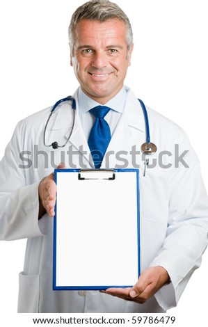 Smiling happy mature doctor showing empty clipboard to write it on your personal advice, isolated on white background