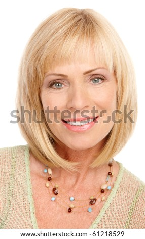 Smiling happy woman. Isolated over white background - stock photo