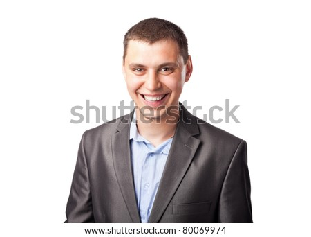 smiling happy young businessman isolated on white background