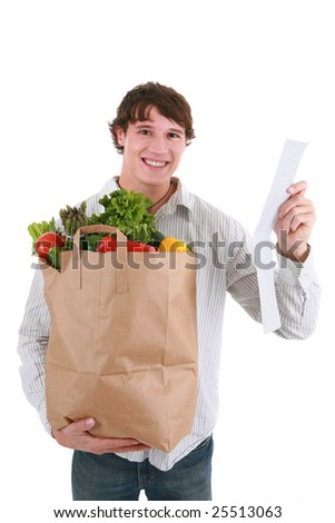 Smiling Healthy Looking Young Man Holding Groceries Paper Bag and Store Receipt Isolated