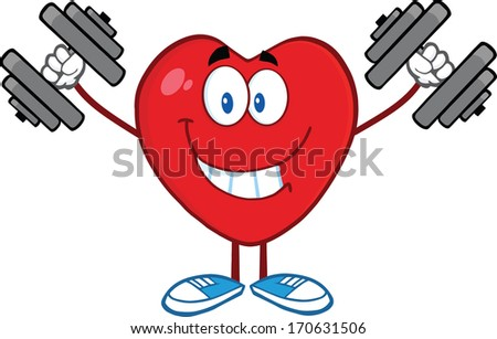 Smiling Heart Cartoon Mascot Character Training With Dumbbells. Raster Illustration Isolated on white - stock photo