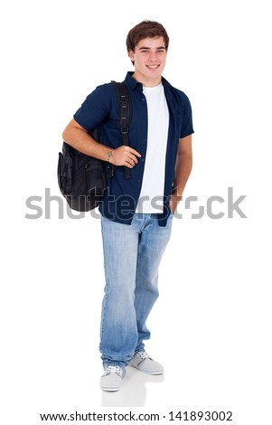 smiling high school teenage boy standing on white background - stock photo