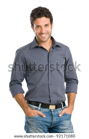 Smiling hispanic beautiful guy looking at camera isolated on white background