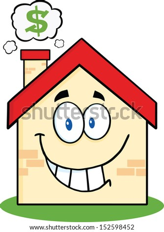 Smiling House Cartoon Mascot Character With Smoke Cloud And Dollar Sign. Raster Illustration - stock photo