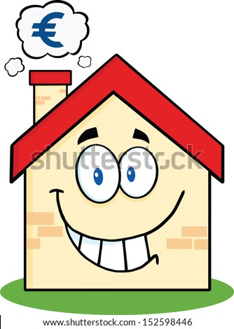 Smiling House Cartoon Mascot Character With Smoke Cloud And Euro Sign. Raster Illustration - stock photo