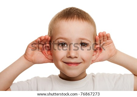 Smiling human child hand listening deaf ear gossip - stock photo