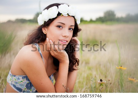 Smiling in a field  - stock photo