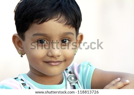 Smiling Indian Cute Girl - stock photo