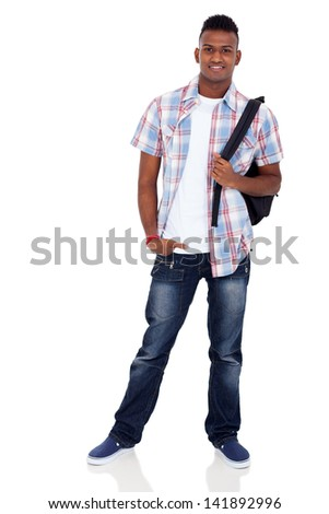 smiling indian teenager boy with schoolbag standing on white background - stock photo