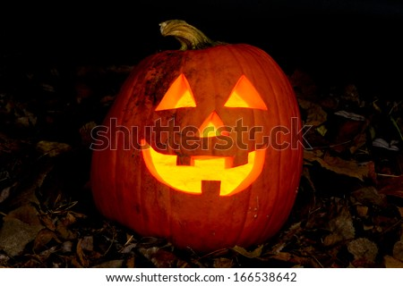 Smiling Jack-o'-lantern sitting on a bed of dead leaves. - stock photo