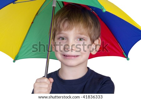 Smiling kid with an umbrella
