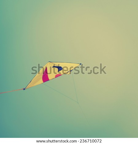 Smiling kite flying in sky, instagram effect - stock photo