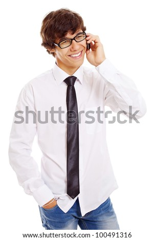Smiling latin student in white shirt and black glasses talking by phone. Isolated on white background, mask included - stock photo