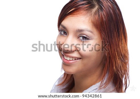 Smiling Latino Woman Headshot - stock photo
