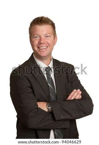 Smiling laughing businessman on white background - stock photo