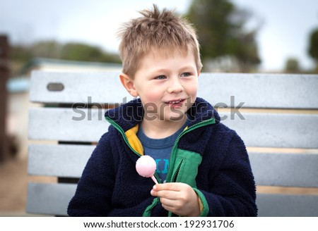 Smiling little boy holding a pop cake  - stock photo