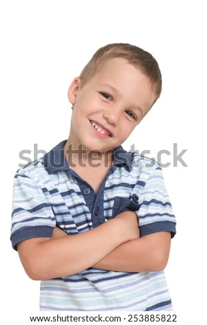 smiling little boy on a white background - stock photo