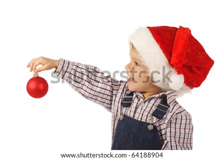 Smiling little boy with Christmas decoration, isolated on white