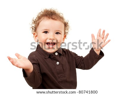 Smiling little boy with his arms open, isolated - stock photo