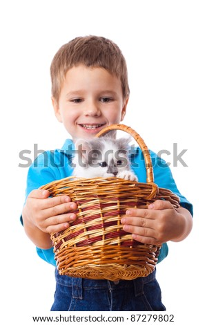 Smiling little boy with kitty in wicker, isolated on white - stock photo