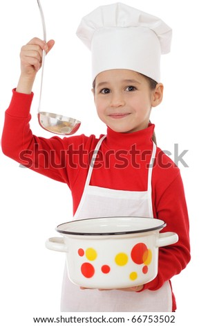 Smiling little chief-cooker with ladle and pot, isolated on white - stock photo