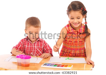 Smiling little children with watercolor paintings, isolated on white