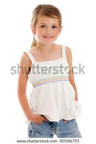 Smiling little girl happy portrait isolated on white - stock photo
