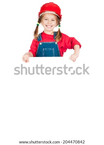 Smiling Little girl in a red helmet with white board isolated on a over white - stock photo