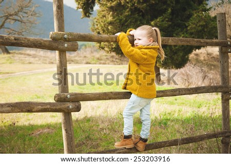 Smiling little girl on a wooden fence - stock photo