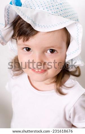 Smiling little girl portrait closeup - stock photo