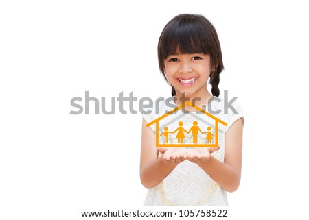Smiling little girl showing on family symbol, Isolated on white - stock photo