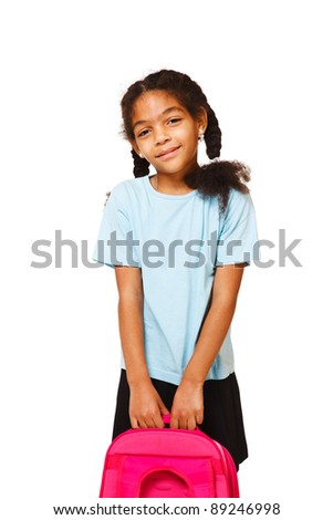 Smiling little girl with lovely braids holding school backpack
