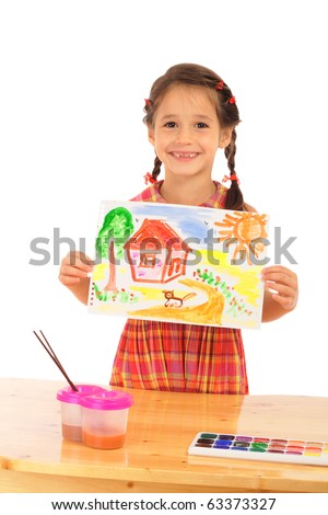 Smiling little girl with watercolor painting, isolated on white - stock photo