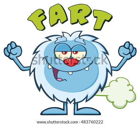 Smiling Little Yeti Cartoon Mascot Character Farting. Raster Illustration Isolated On White Background With Text Fart