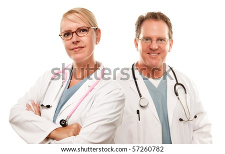 Smiling Male and Female Doctors or Nurses Isolated on a White Background. - stock photo
