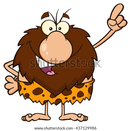 Smiling Male Caveman Cartoon Mascot Character Pointing. Raster Illustration Isolated On White Background - stock photo