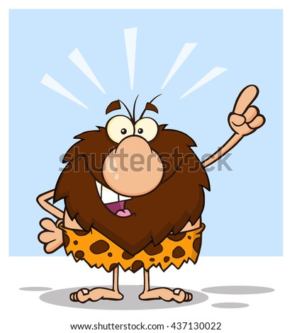 Smiling Male Caveman Cartoon Mascot Character With Good Idea. Raster Illustration Isolated On White Background
