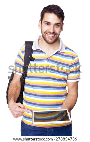 Smiling male student pointing to a tablet pc, isolated on white background - stock photo