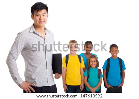 smiling male teacher and young school kids on white background - stock photo