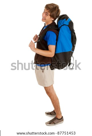 smiling male tourist with backpack, full length, white background - stock photo