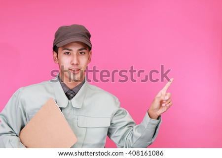 Smiling male worker