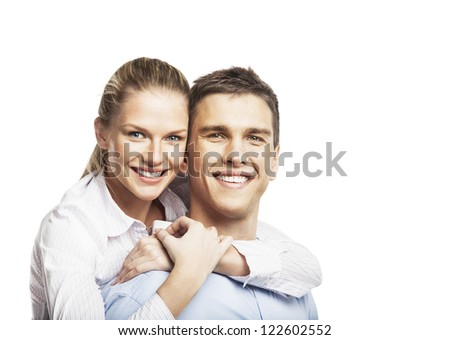 smiling man and woman on white background - stock photo