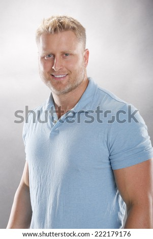 Smiling man in cotton casual - stock photo