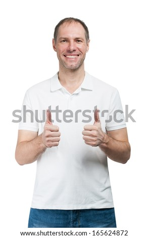 Smiling man in t-shirt show thumb up isolated on white background - stock photo